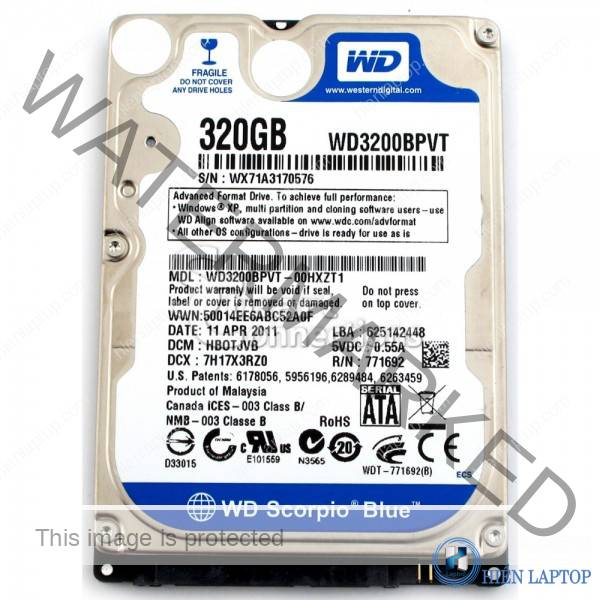 WESTERN BLUE (WD) 320GB  5400RPM LAPTOP