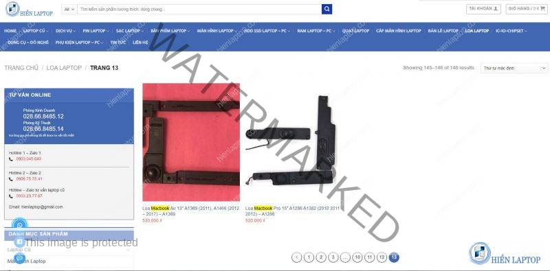 Ảnh báo giá sửa loa Macbook tại hienlaptop.com
