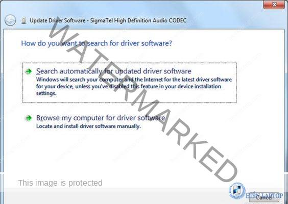 Chọn Search automactically for updated driver software