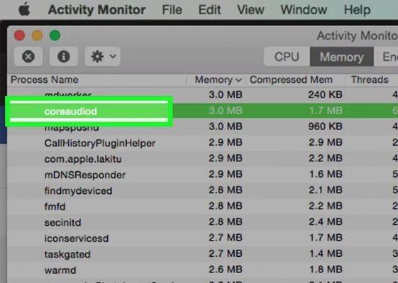 """Mở Activity Monitor (Trình kiểm soát hoạt động) và ngừng tiến trình """"coreaudiod""""."""