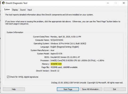 Kiểm tra thông số RAM