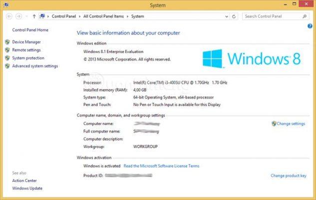 Xem cấu hình máy tính Windows 8.1 đơn giản